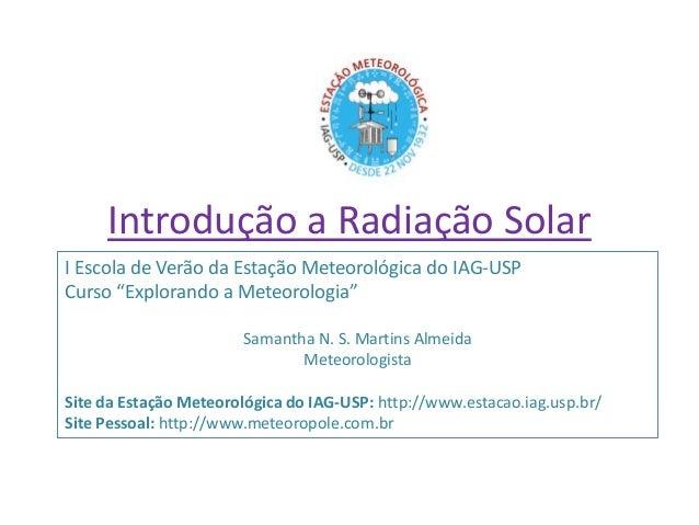 Introdução a radiação solar