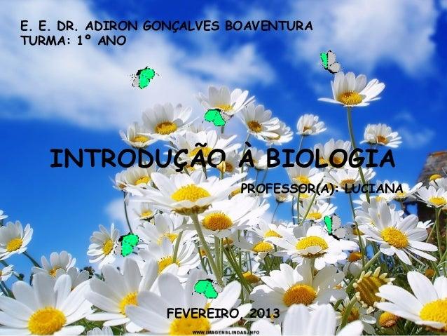 E. E. DR. ADIRON GONÇALVES BOAVENTURATURMA: 1º ANO   INTRODUÇÃO À BIOLOGIA                           PROFESSOR(A): LUCIANA...