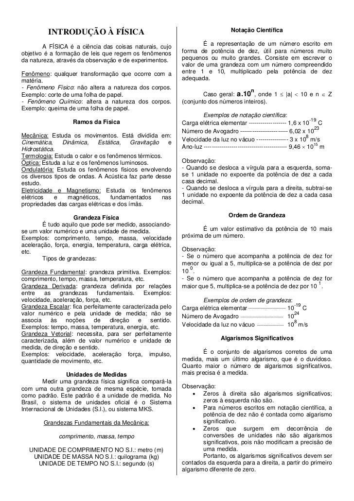 INTRODUÇÃO À FÍSICA                                                    Notação Científica        A FÍSICA é a ciência das ...