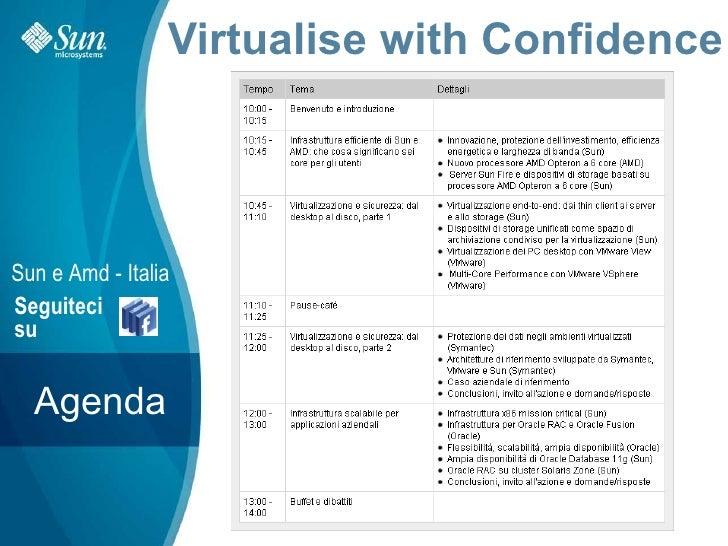 Virtualise with Confidence     Sun e Amd - Italia Seguiteci su     Agenda                          Sun Confidential: Inter...