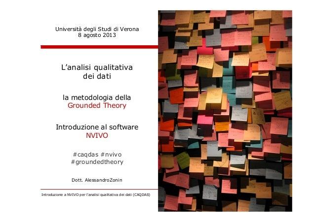 Introduzione a NVIVO per l'analisi qualitativa dei dati (CAQDAS) 1 di 101Alessandro Zonin - Verona Agosto 2013 (CC BY-NC-N...