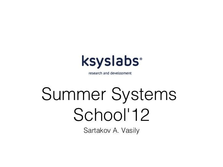 Summer Systems   School12    Sartakov A. Vasily