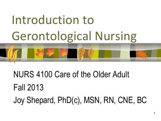 1Introduction toGerontological NursingNURS 4100 Care of the Older AdultFall 2013Joy Shepard, PhD(c), MSN, RN, CNE, BC