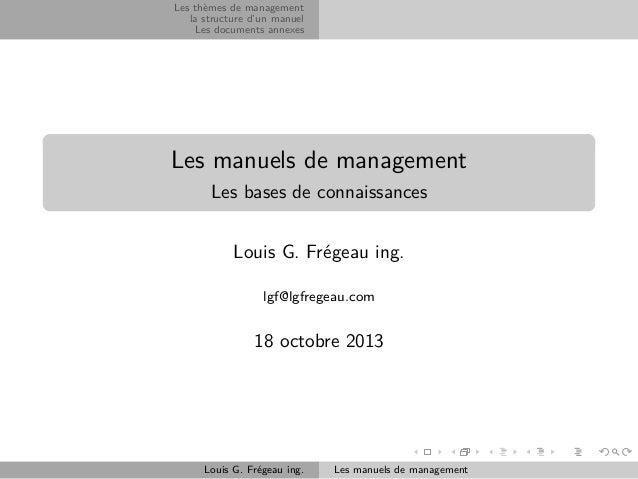 Les thèmes de management la structure d'un manuel Les documents annexes  Les manuels de management Les bases de connaissan...