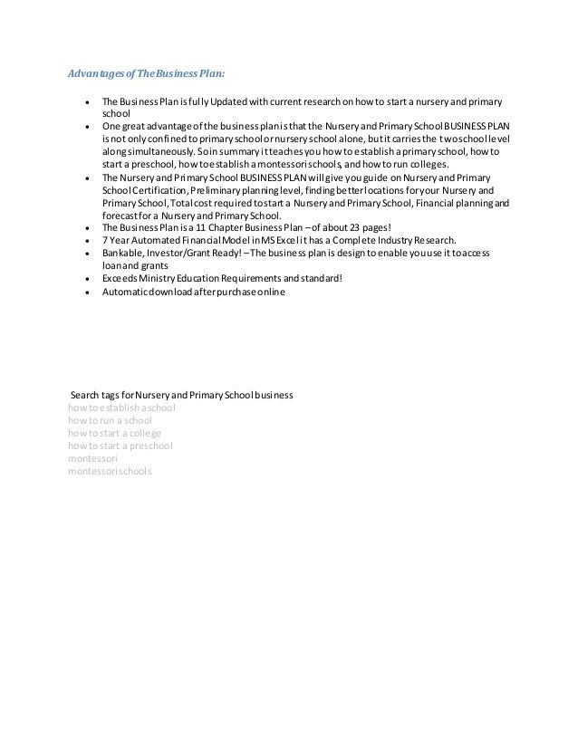 Nursery School Business Plan