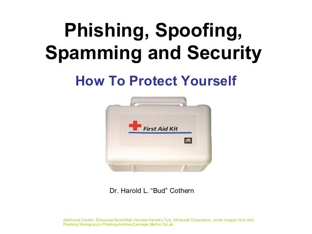 Phishing, Spoofing, Spamming and Security How To Protect Yourself Additional Credits: Educause/SonicWall, Hendra Harianto ...