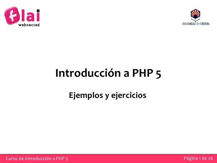 Iniciación PHP 5. Ejemplos