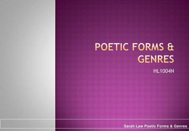 Poetic Forms & Genres<br />HL1004N<br />Sarah Law Poetic Forms & Genres <br />