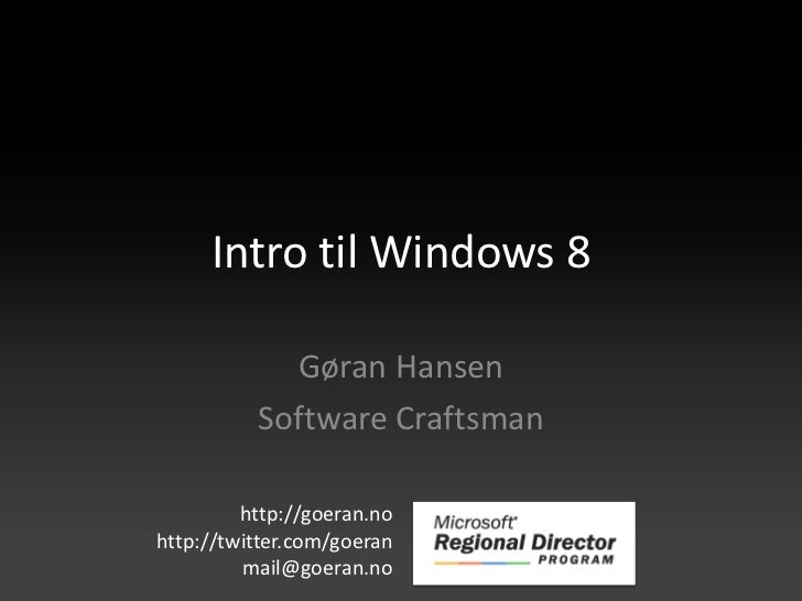Intro til windows 8