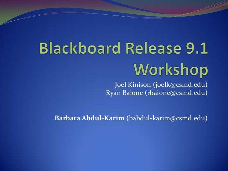 Introduction to Blackboard 9.1