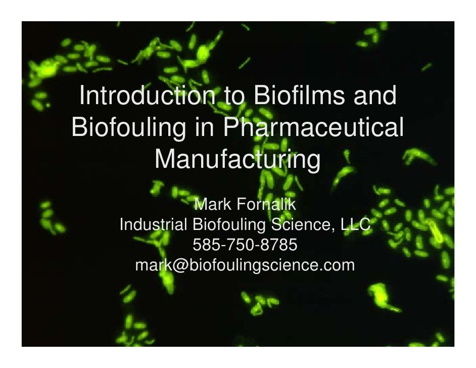 Introduction to Biofilms and Biofouling in Pharmaceutical        Manufacturing                Mark Fornalik     Industrial...