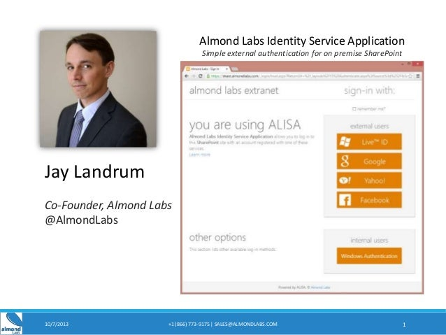 10/7/2013 +1 (866) 773-9175 | SALES@ALMONDLABS.COM 1 Jay Landrum Co-Founder, Almond Labs @AlmondLabs Almond Labs Identity ...