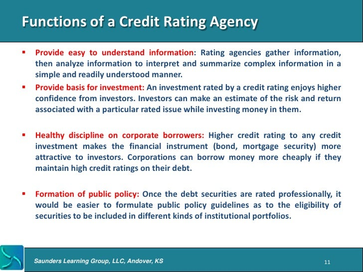 a study of credit rating agencies