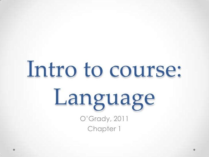 Intro to language