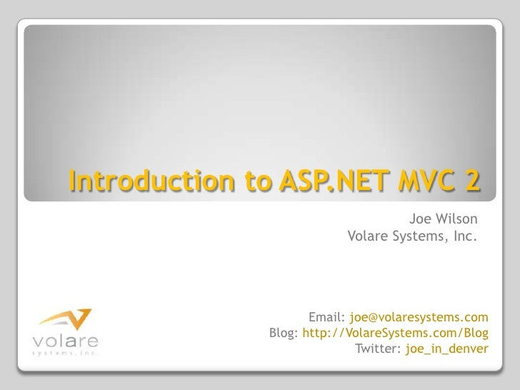 Introduction to ASP.NET MVC 2