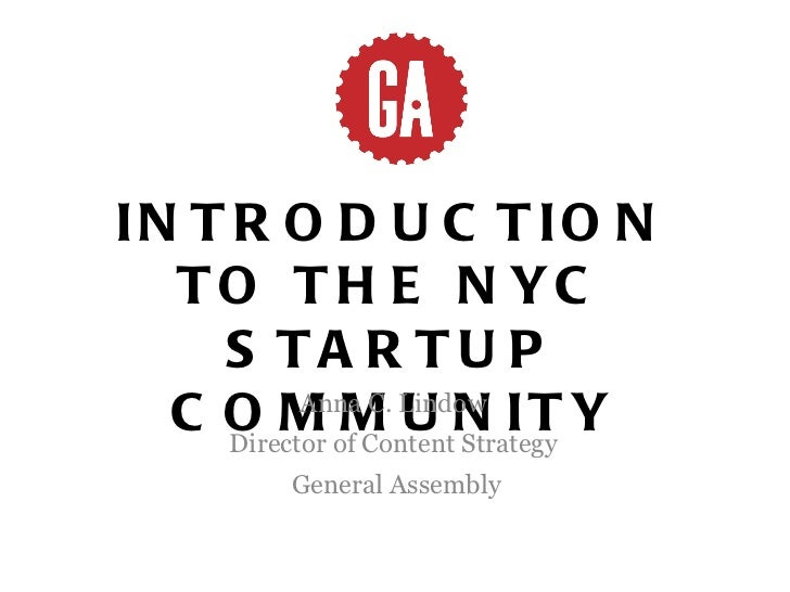 Intro to the NYC Startup Community