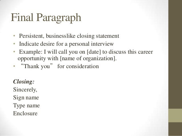 Closing statements to cover letters