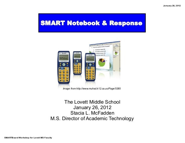 SMARTBoard Workshop for Lovett MS Faculty January 26, 2012 SMART Notebook & Response The Lovett Middle School January 26, ...