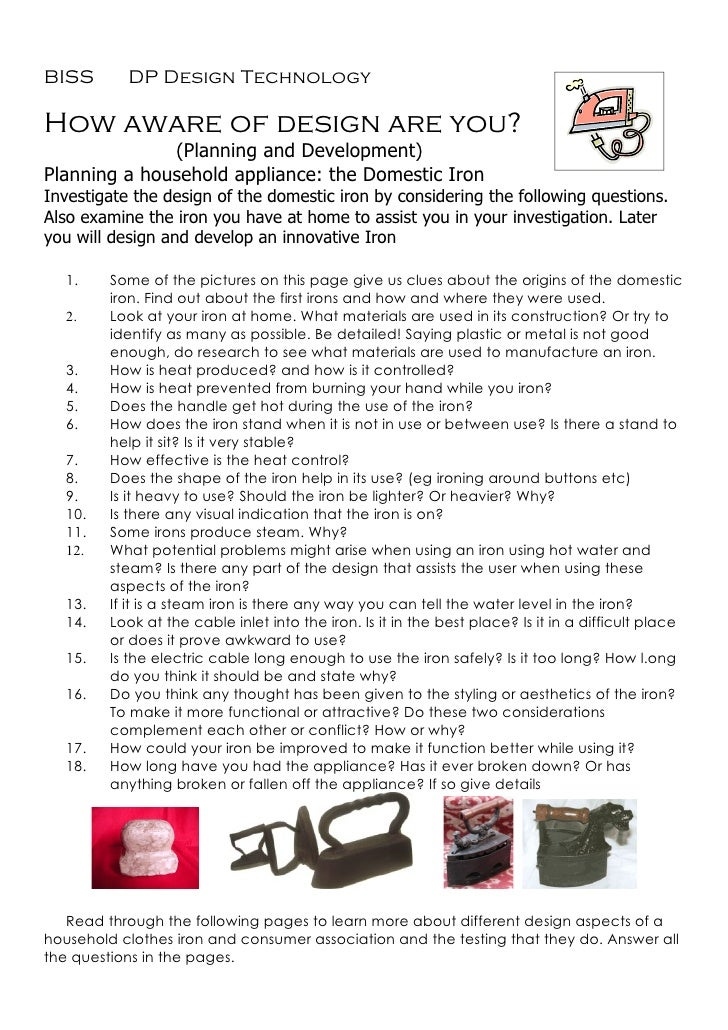Intro to the domestic iron assignment