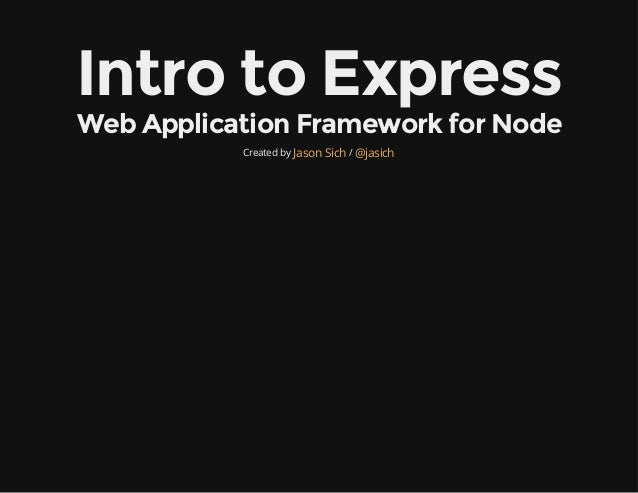 Intro to the Express Web Framework