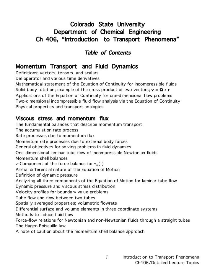 """Colorado State University              Department of Chemical Engineering         Ch 406, """"Introduction to Transport Pheno..."""