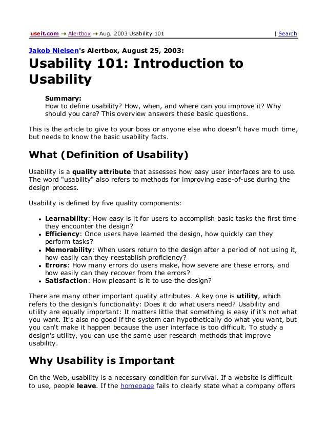 Introduction to Usabiliti
