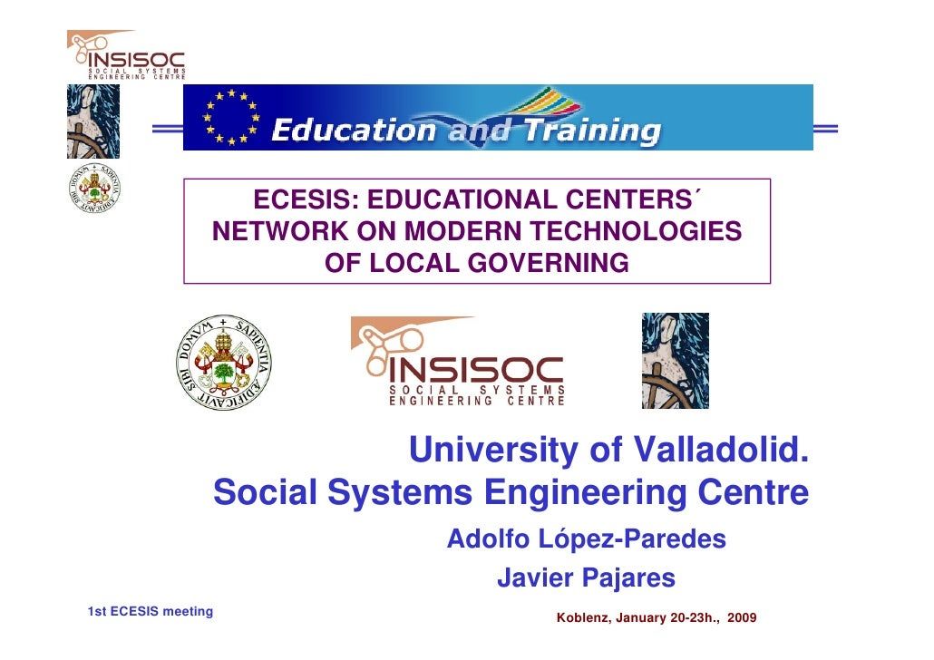 ECESIS: EDUCATIONAL CENTERS´                  NETWORK ON MODERN TECHNOLOGIES                        OF LOCAL GOVERNING    ...