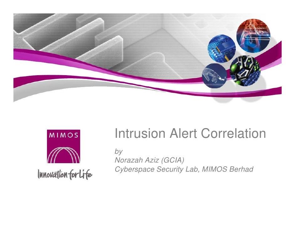 Intrusion Alert Correlation
