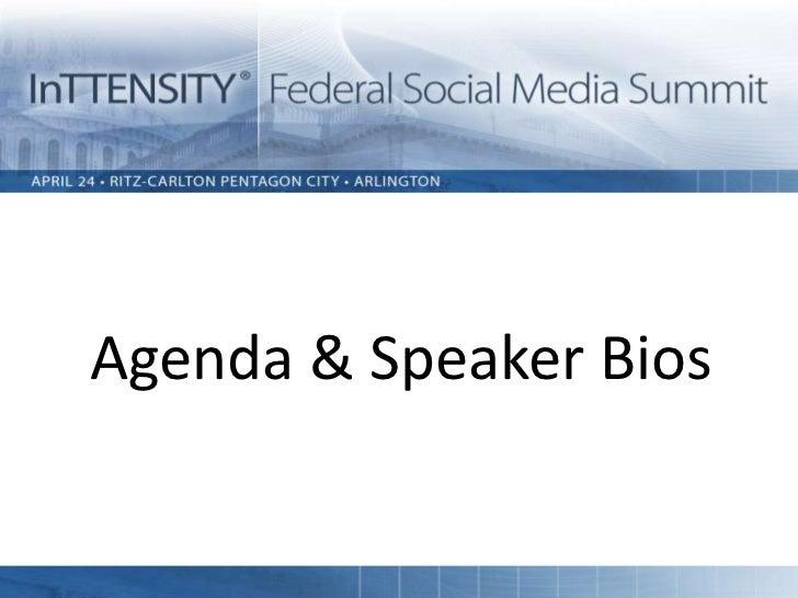 Agenda & Speaker Bios