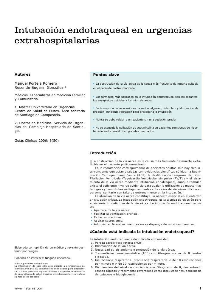 Intubación endotraqueal en urgencias extrahospitalarias   Autores                                                         ...