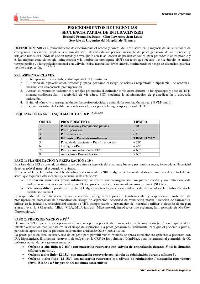 Técnicas de Urgencias                                    PROCEDIMIENTOS DE URGENCIAS                                  SECU...