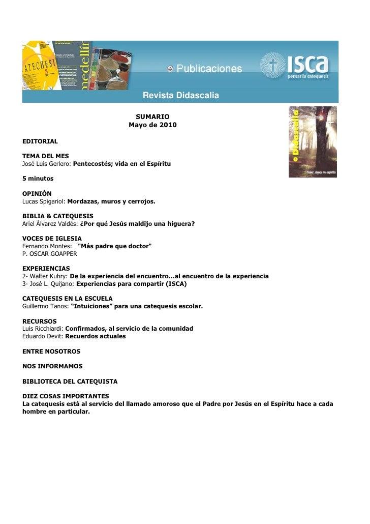 Revista Didascalia                                     SUMARIO                                    Mayo de 2010EDITORIALTEM...