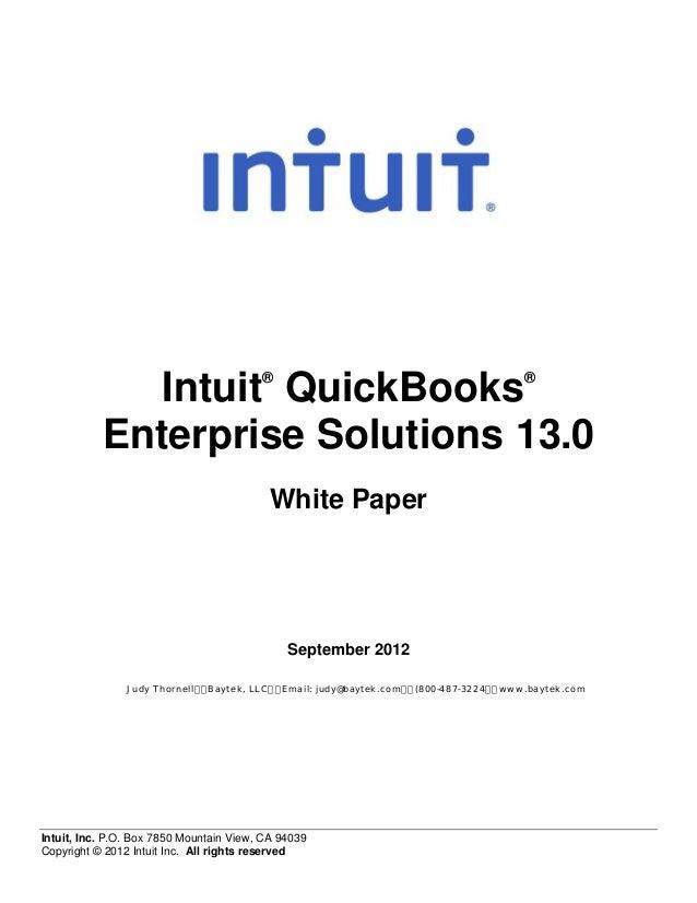®                                                 ®              Intuit QuickBooks           Enterprise Solutions 13.0    ...