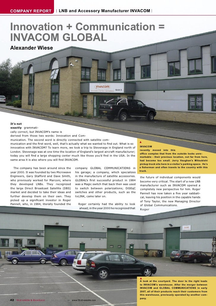 COMPANY REPORT                        LNB and Accessory Manufacturer INVACOM    Innovation + Communication = INVACOM GLOBA...