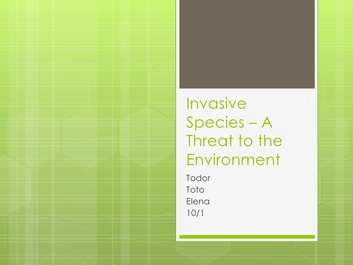 Invasive Species – A Threat to the Environment Todor Toto Elena 10/1