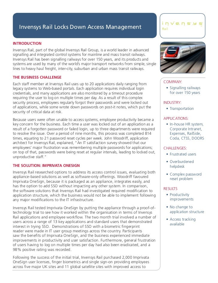 Invensys Rail Success Story