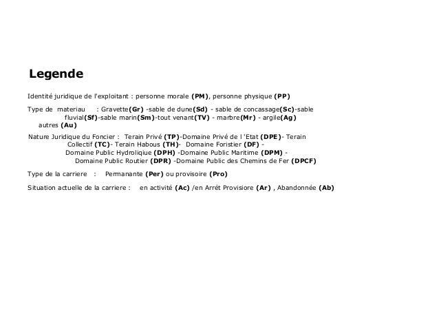 LegendeIdentité juridique de lexploitant : personne morale (PM), personne physique (PP)Type de materiau      : Gravette(Gr...