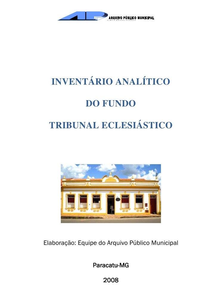 Inventario Fundo Tribunal Eclesiástico Seculo XIII