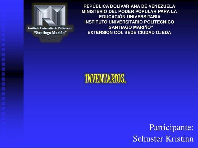 REPÚBLICA BOLIVARIANA DE VENEZUELA  MINISTERIO DEL PODER POPULAR PARA LA  EDUCACIÓN UNIVERSITARIA  INSTITUTO UNIVERSITARIO...