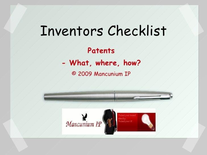 Inventor Checklist
