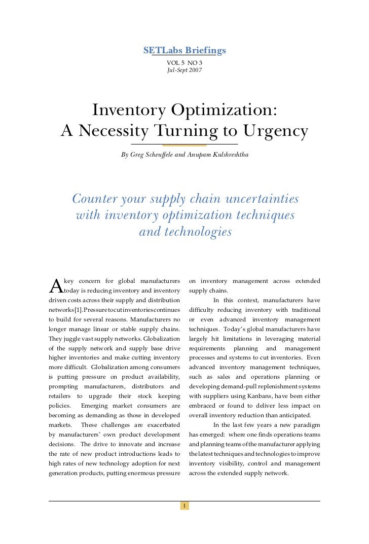 Infosys - Inventory Optimization Techniques   White Paper
