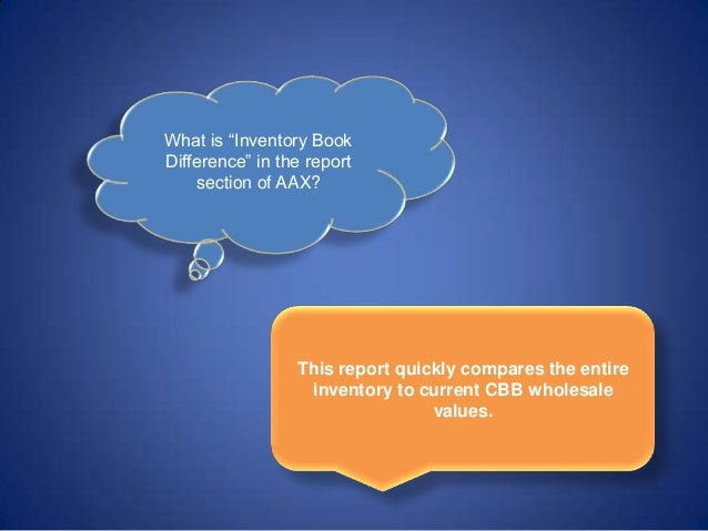 "What is ""Inventory Book Difference"" in the report section of AAX? This report quickly compares the entire inventory to cur..."