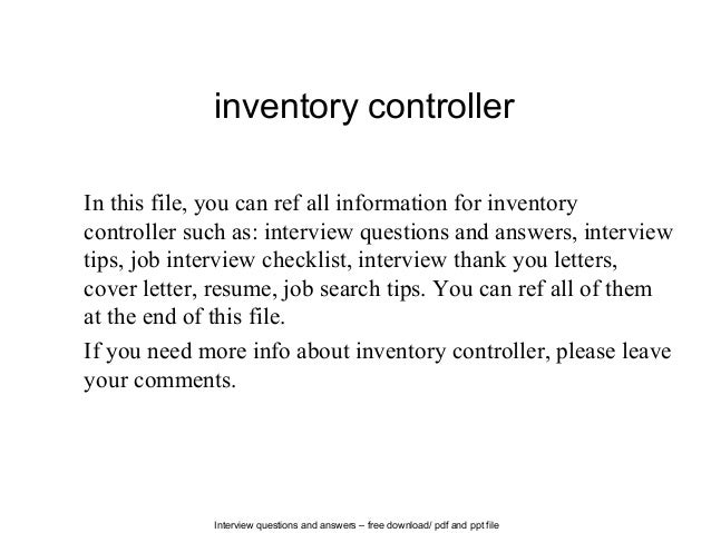 inventory job description viswanathan resume job description of a – Controller Job Description