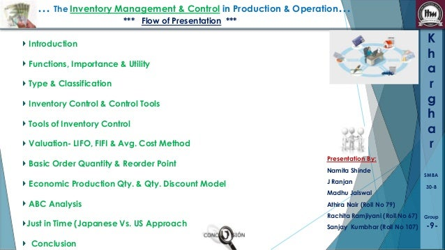 … The Inventory Management & Control in Production & Operation… *** Flow of Presentation ***  K h a r g h a r  Introductio...