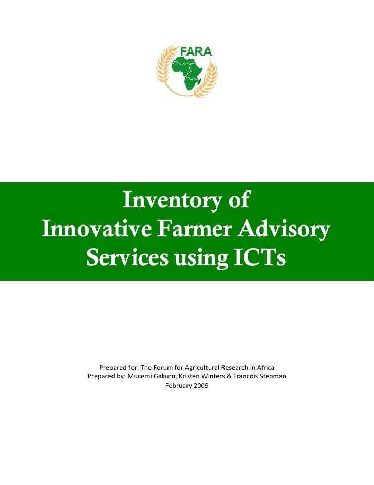 Inventory of innovative farmer advisory services using ic ts