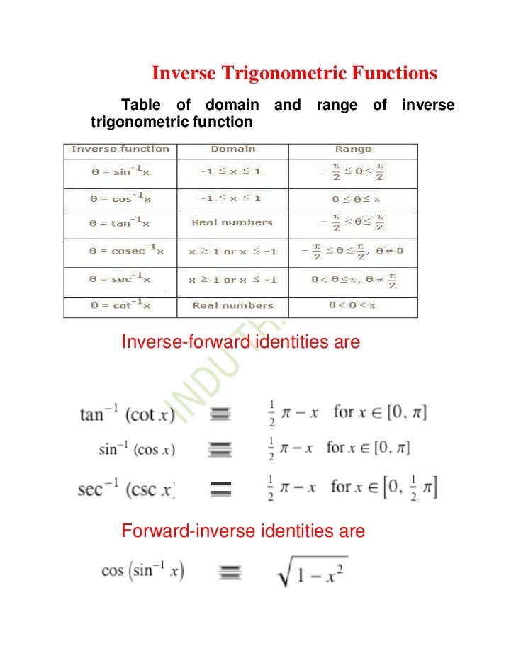 Inverse Trigonometric Functions     Table of domain and range of inversetrigonometric function   Inverse-forward identitie...