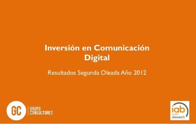 Inversión en Comunicación Digital Resultados Segunda Oleada Año 2012