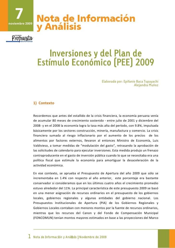 Inversiones y del Plan de Estímulo Económico (PEE) 2009