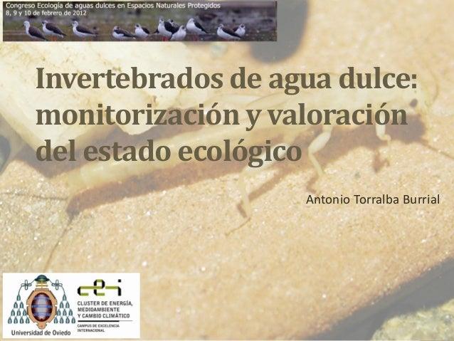 Invertebrados de agua dulce: monitorización y valoración del estado ecológico Antonio Torralba Burrial