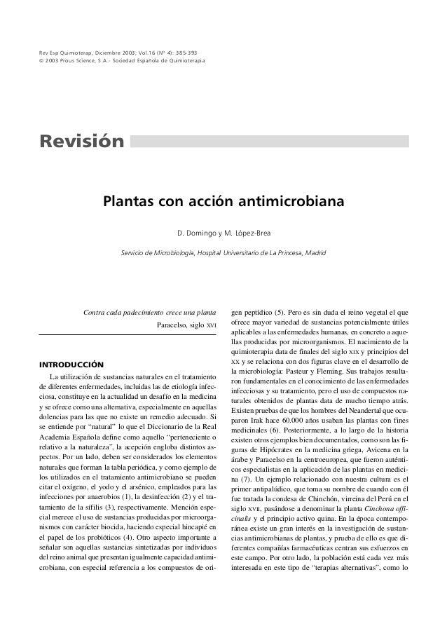 Rev Esp Quimioterap, Diciembre 2003; Vol.16 (Nº 4): 385-393 2003 Prous Science, S.A.- Sociedad Española de QuimioterapiaR...